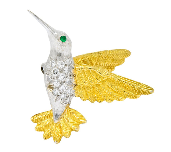 1970s Vintage Diamond Emerald 18 Karat Two-Tone Gold Hummingbird Brooch Brooch