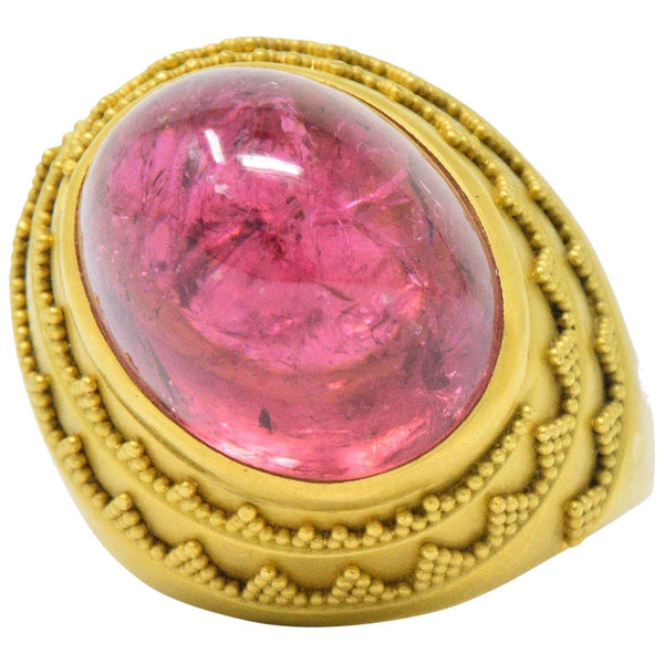 1980s Oval Cabochon Pink Tourmaline 22 Karat Gold Ring Ring Contemporary out-of-stock