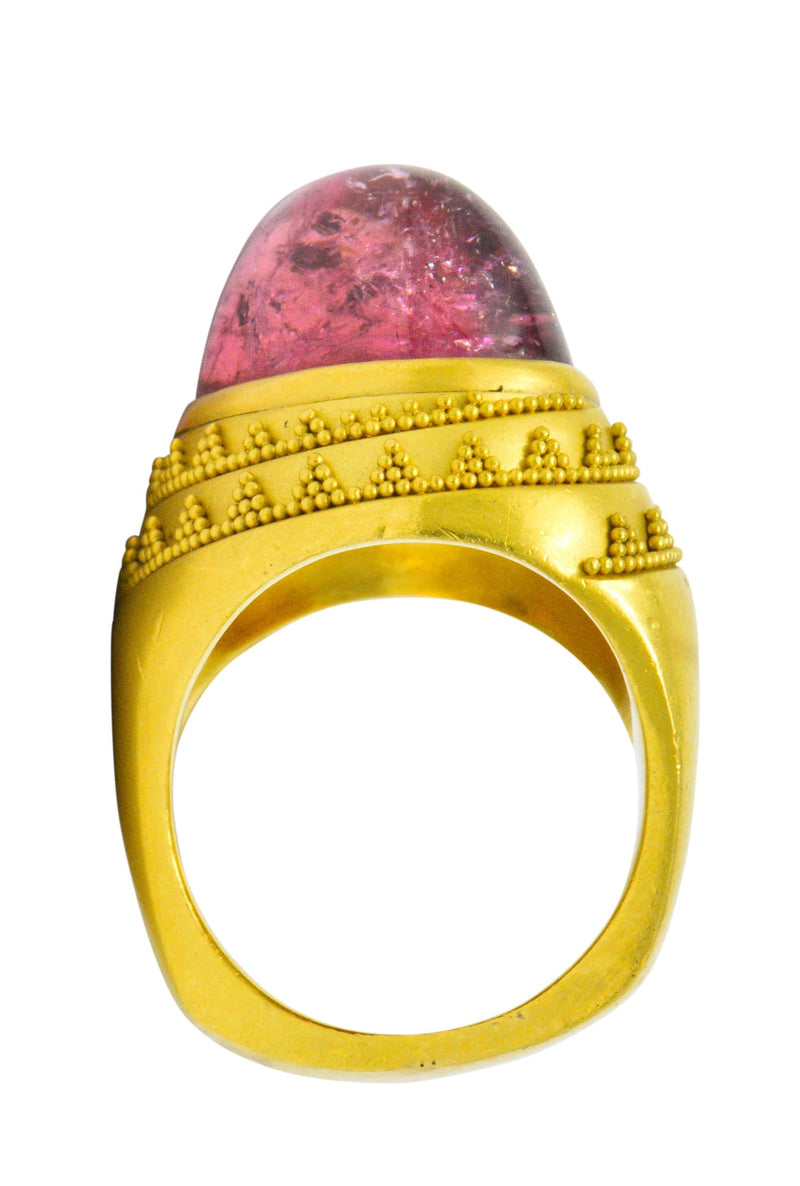 1980's Oval Cabochon Pink Tourmaline 22 Karat Gold Ring - Wilson's Estate Jewelry