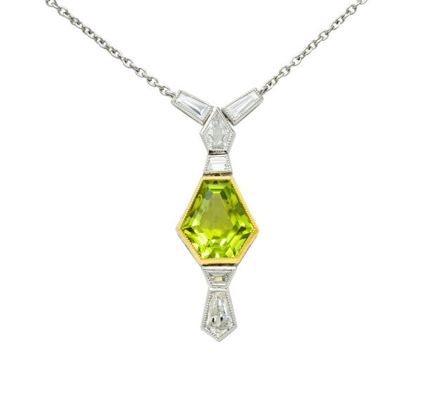 1980's Vintage 4.80 CTW Peridot Diamond Platinum 18 Karat Gold Geometric Drop Necklace - Wilson's Estate Jewelry
