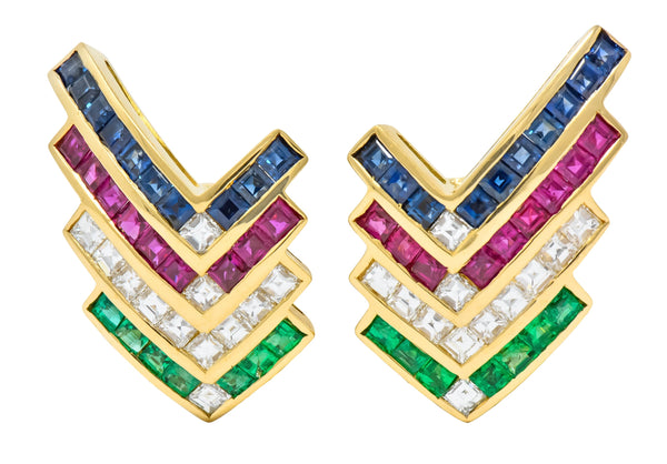 1980s Vintage 5.92 CTW Emerald Ruby Sapphire Diamond 18 Karat Gold Chevron Earrings Earrings contemporary diamond Emerald ruby Sapphire