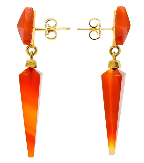 1980's Vintage Carnelian 14 Karat Gold Pyramidal Drop Earrings - Wilson's Estate Jewelry