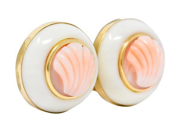 1990s Vintage Coral 14 Karat Gold Circular Shell Earrings Earrings