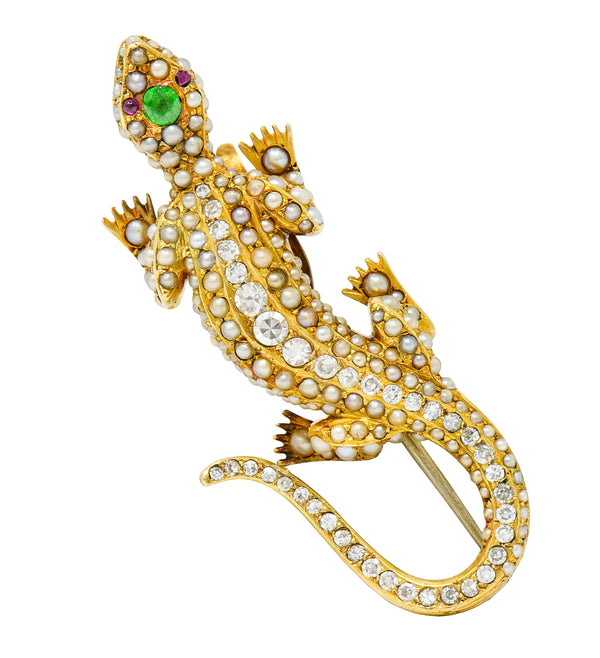 Riker Brothers Uncommon Demantoid Garnet Diamond Pearl 14 Karat Gold Lizard Art Nouveau Brooch