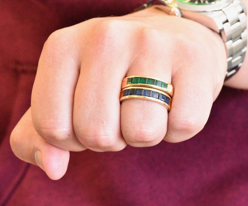 2 Contemporary 5.50 CTW Sapphire Emerald 18 Karat Gold Men's Band Rings - Wilson's Estate Jewelry