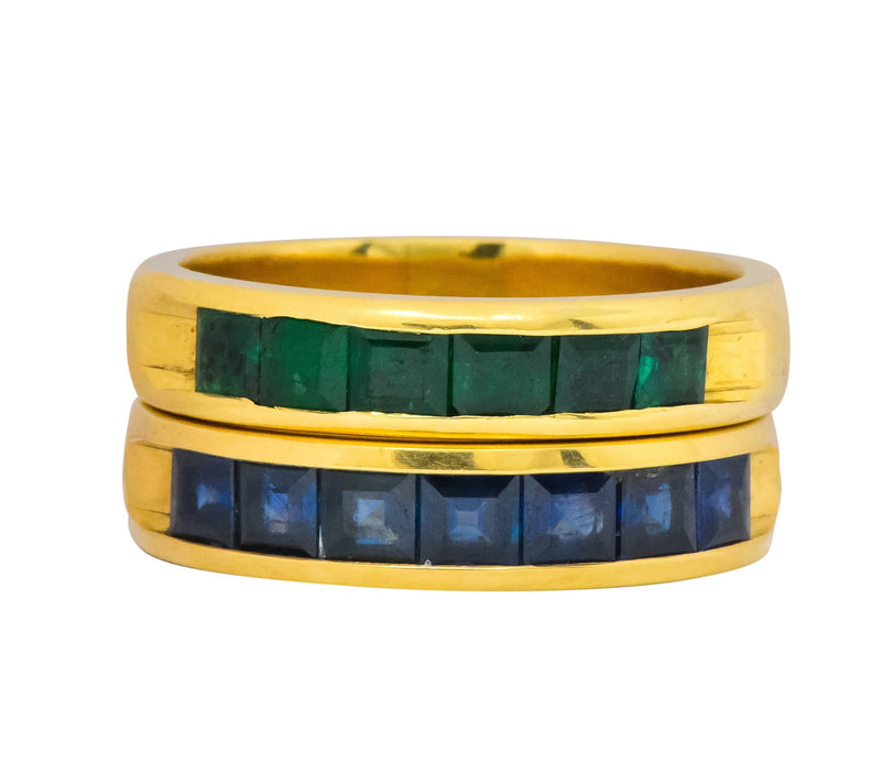 2 Contemporary 5.50 Ctw Sapphire Emerald 18 Karat Gold Mens Band Rings Ring