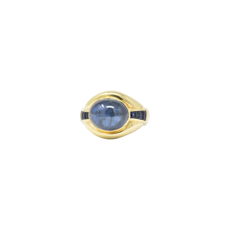 8.00CTS Sapphire & 18K Gold Vintage Ring Ring