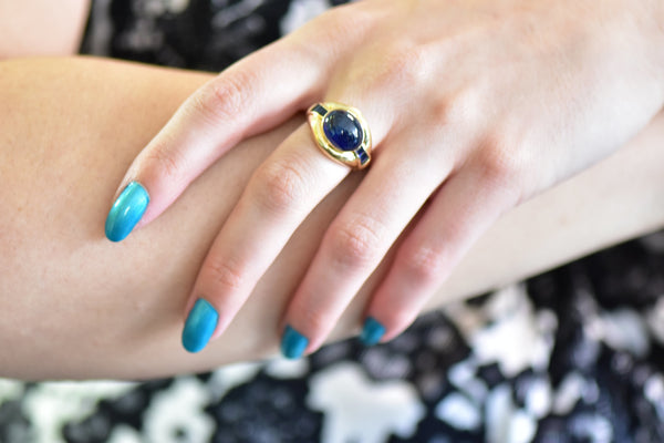 8.00CTS Sapphire & 18K Gold Vintage Ring Ring Contemporary Modern out-of-stock