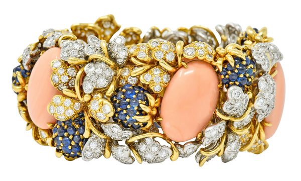 Tiffany & Co. Donald Claflin Diamond Sapphire Coral Platinum 18 Karat Gold Sumptuous Berry Bracelet - Wilson's Estate Jewelry