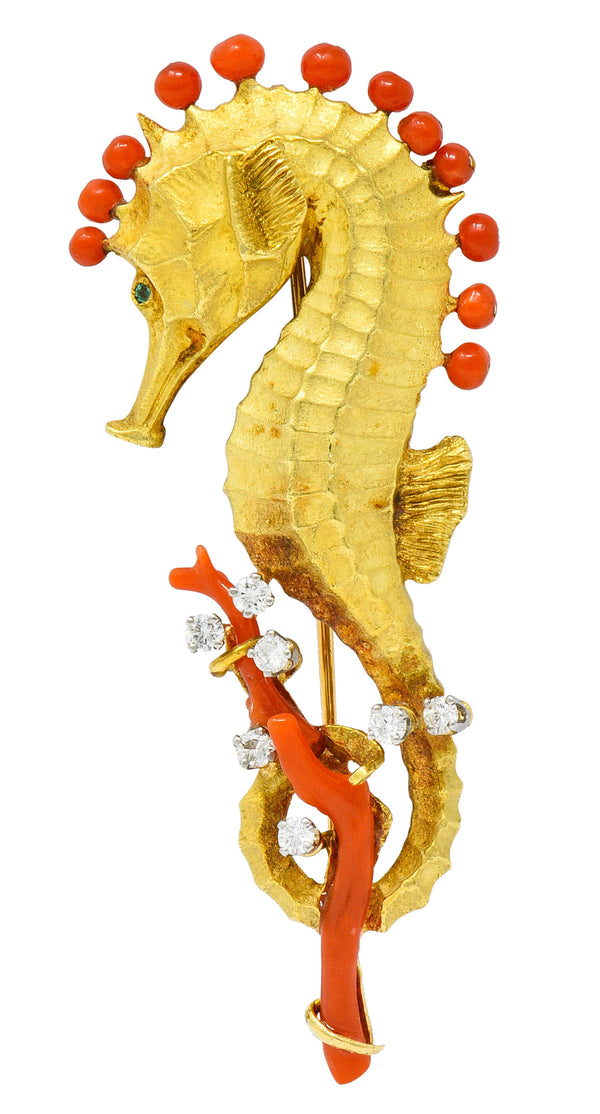 Cartier Vintage Coral Diamond Emerald 18 Karat Gold Seahorse Brooch