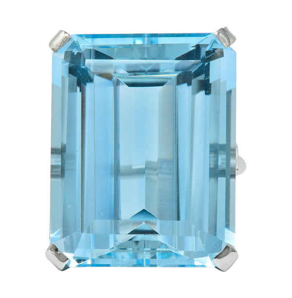Exquisite Cartier 36.09 CTW Aquamarine Diamond Platinum Retro Cocktail Ring - Wilson's Estate Jewelry