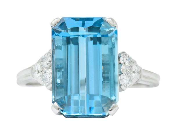 Tiffany & Co. 7.38 CTW Aquamarine Diamond Platinum Retro Cocktail Ring - Wilson's Estate Jewelry