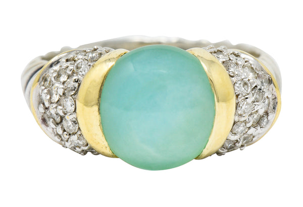 David Yurman Diamond Chrysoprase 18 Karat Gold Silver Capri Ring