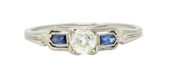 Art Deco Diamond Sapphire 18 Karat White Gold Engagement Ring