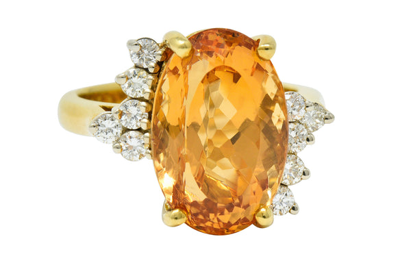 8.54 CTW Topaz Diamond 18 Karat Gold Cocktail Ring