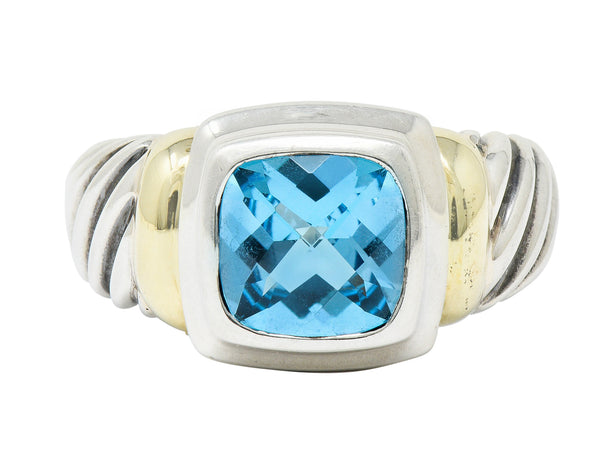 David Yurman Blue Topaz 14 Karat Gold Silver Noblesse Ring