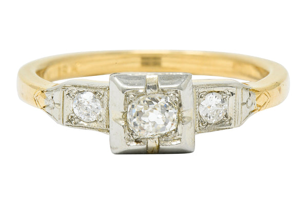 Ringcraft Retro 0.45 CTW Diamond 14 Karat Two-Tone Gold Engagement Ring