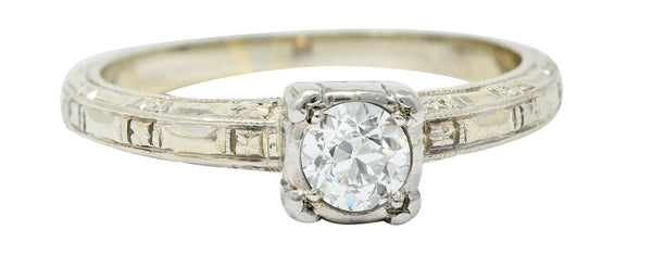 Art Deco 0.35 CTW Diamond 14 Karat White Gold Engagement Ring