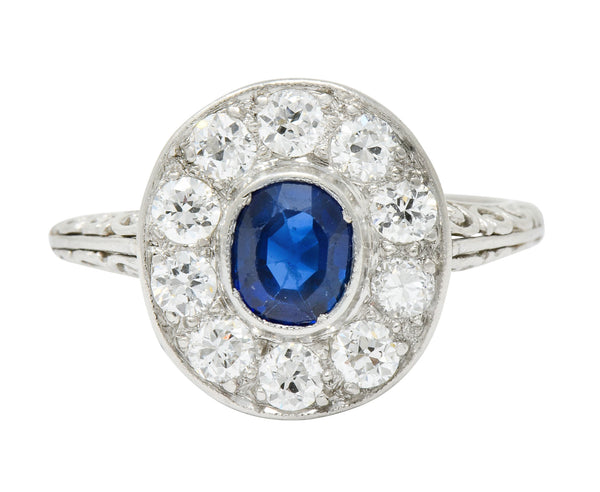 Art Deco 1.70 CTW Sapphire Diamond Platinum Halo Dinner Ring - Wilson's Estate Jewelry