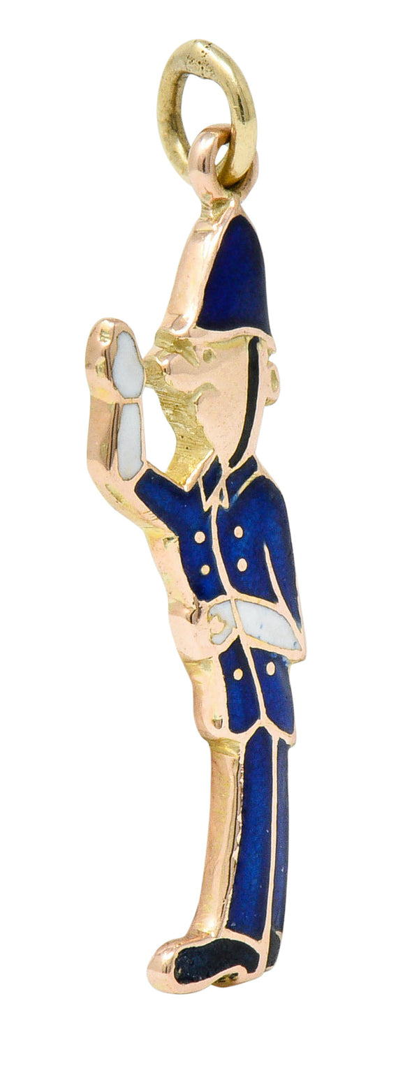 1952 Enamel 9 Karat Rose Gold British Bobby Police Officer Charm