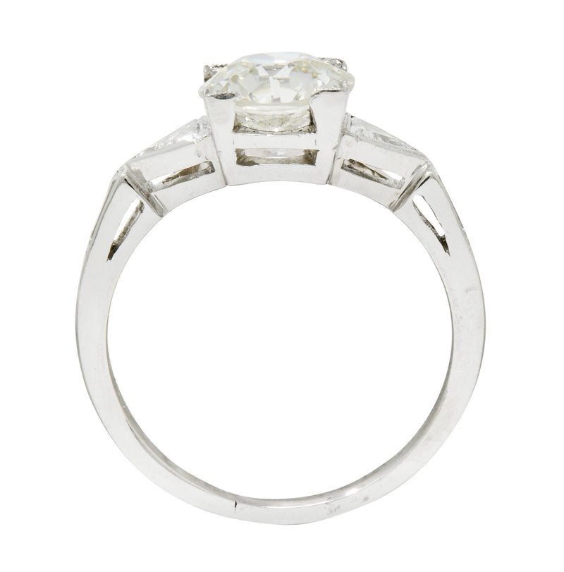 Exquisite Retro 2.08 CTW Diamond Platinum Trillion Engagement Ring GIA - Wilson's Estate Jewelry