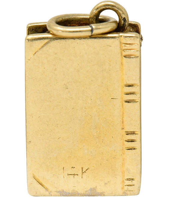 1940's Retro 14 Karat Gold Bible Charm