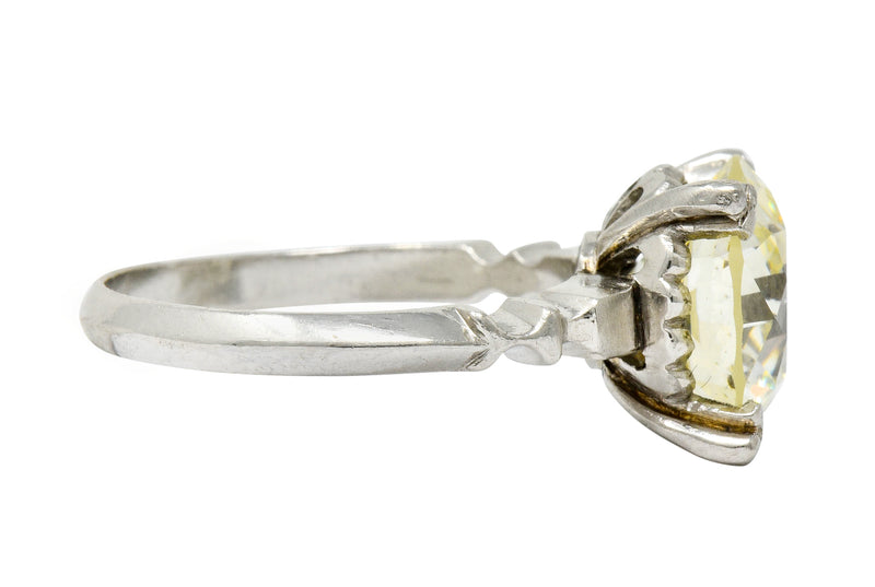 Retro 3.47 CTW Diamond Platinum Engagement Ring GIA - Wilson's Estate Jewelry