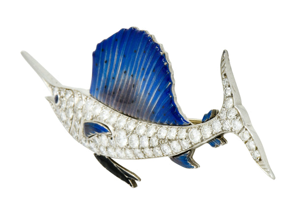 Art Deco 2.60 CTW Diamond Blue Enamel Platinum Swordfish Brooch - Wilson's Estate Jewelry