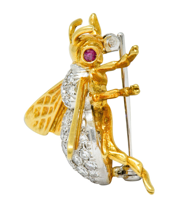 Vintage 1.75 CTW Diamond Ruby Platinum 18 Karat Gold Bee Brooch - Wilson's Estate Jewelry