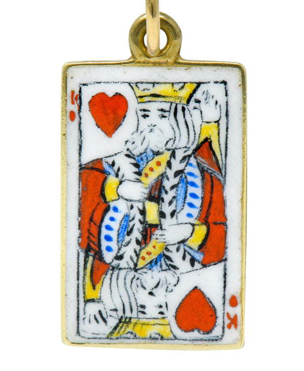 Art Nouveau Enamel 14 Karat Gold King Of Hearts Playing Card Charm - Wilson's Estate Jewelry