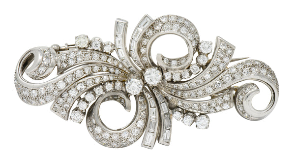 Retro 5.78 CTW Diamond Platinum Scrolling Ribbon Clips Brooch - Wilson's Estate Jewelry