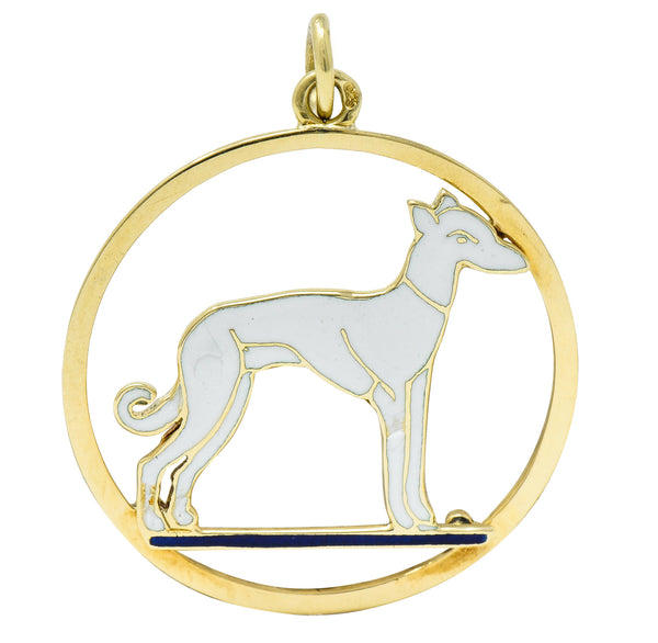Art Deco French Enamel 18 Karat Gold Greyhound Pendant Charm