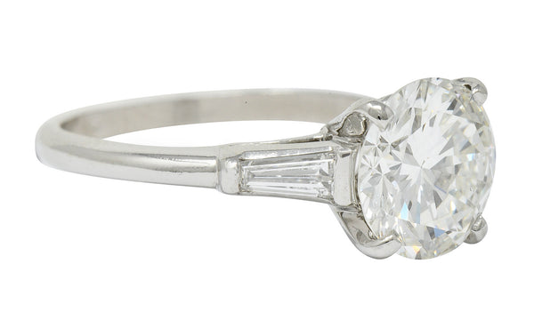 1950's Mid-Century 2.62 CTW Diamond Platinum Engagement Ring GIA