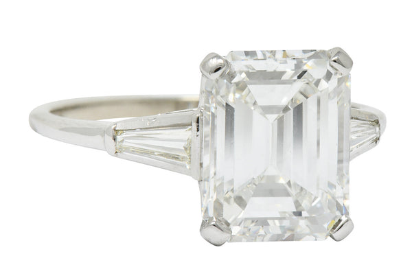 Substantial 4.58 CTW Emerald Cut Diamond Platinum Engagement Ring GIA