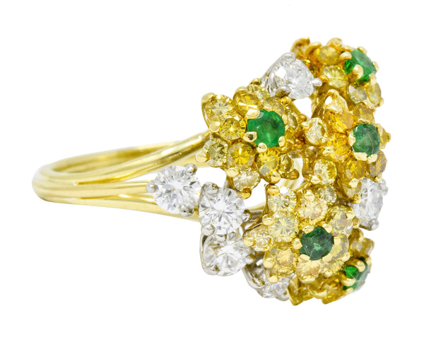 Vintage 3.21 CTW Yellow and White Diamond Emerald 18 Karat Gold Floral Cluster Ring - Wilson's Estate Jewelry