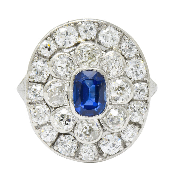 Art Deco 3.18 CTW Sapphire Diamond Platinum Cluster Dinner Ring - Wilson's Estate Jewelry