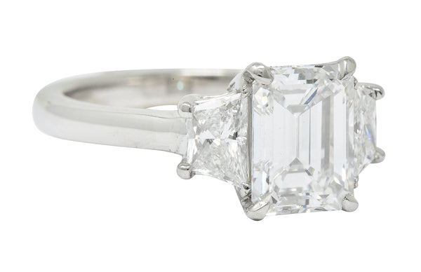 2.81 CTW Emerald Cut Diamond Platinum Engagement Ring GIA