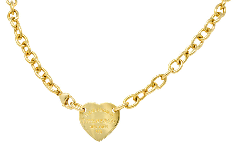 We-5886 Tiffany & Co. Vintage 18 Karat Gold Tiffany Heart Collar Necklace