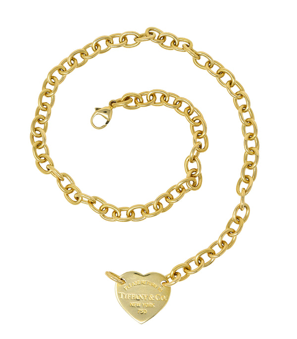 Tiffany & Co. Vintage 18 Karat Gold Tiffany Heart Collar Necklace
