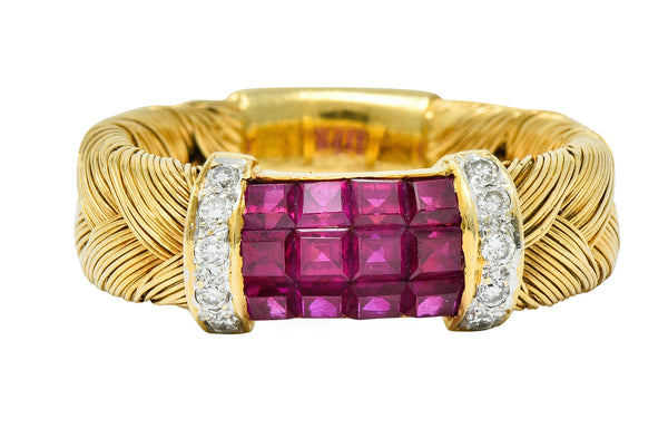 Vintage Ruby Diamond 18 Karat Gold Wheat Band Ring