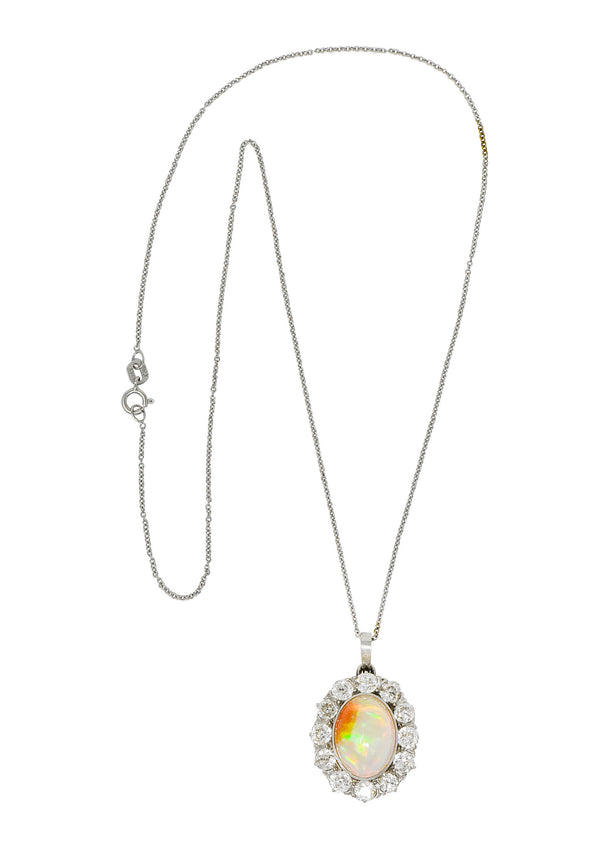 Edwardian Jelly Opal 3.00 CTW Diamond Platinum-Topped 14 Karat Gold Cluster Pendant Necklace