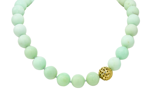 Angela Cummings Chrysoprase 18 Karat Gold Bead Station Necklace - Wilson's Estate Jewelry