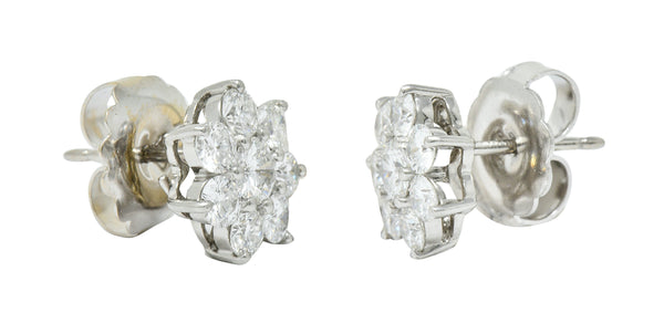 Modern 1.90 CTW Diamond Platinum Floral Cluster Stud Earrings