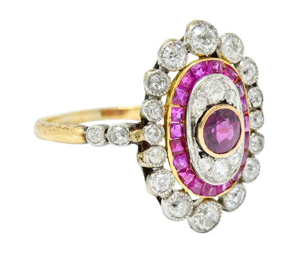 Edwardian Ruby Diamond Platinum-Topped 18 Karat Gold Dinner Ring