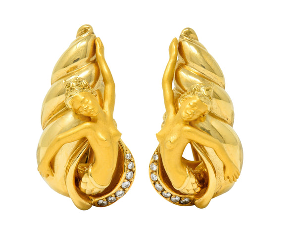 Carrera Y Carrera Diamond 18 Karat Gold Mermaid Earrings