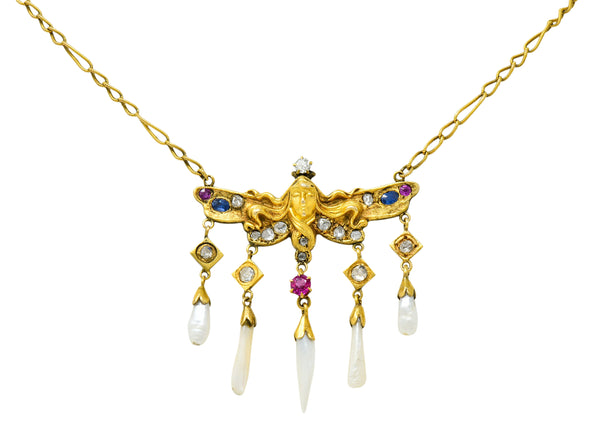 Art Nouveau Diamond Ruby Sapphire Pearl 14 Karat Gold Droplet Necklace