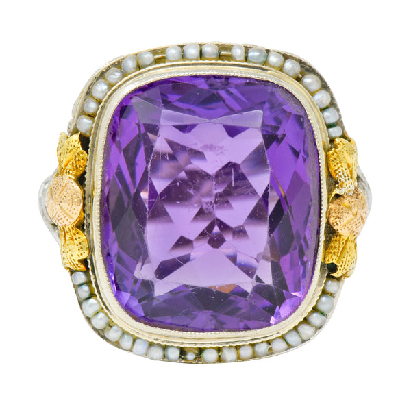 Bassett Jewelry Co. Art Deco 13.34 CTW Amethyst Pearl 18 Karat Tri-Colored Gold Cocktail Ring - Wilson's Estate Jewelry