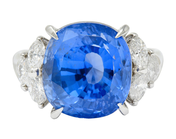 10.71 CTW No Heat Ceylon Sapphire Diamond Platinum Statement Ring GRS
