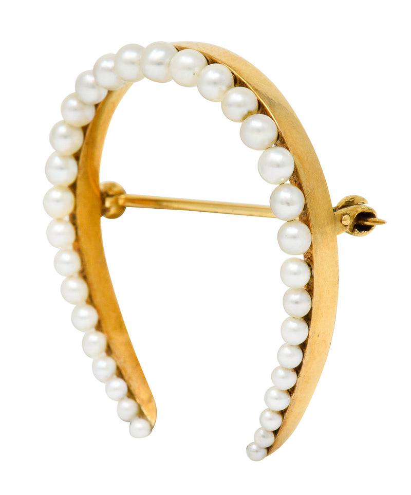 Sloan & Co. Art Nouveau Pearl 14 Karat Gold Horseshoe Brooch - Wilson's Estate Jewelry