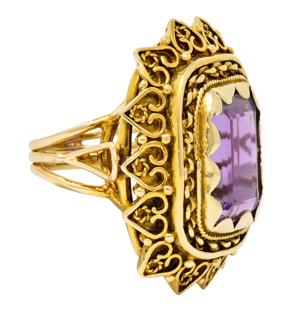 Vintage 13.64 CTW Emerald Cut Amethyst 14 Karat Gold Cocktail Ring - Wilson's Estate Jewelry